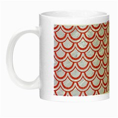 Scales2 White Marble & Red Colored Pencil (r) Night Luminous Mugs by trendistuff