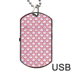 Scales2 White Marble & Red Colored Pencil (r) Dog Tag Usb Flash (two Sides) by trendistuff