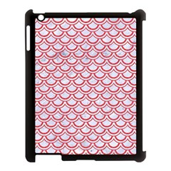 Scales2 White Marble & Red Colored Pencil (r) Apple Ipad 3/4 Case (black) by trendistuff