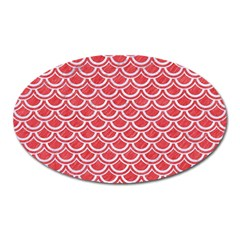 Scales2 White Marble & Red Colored Pencil Oval Magnet by trendistuff
