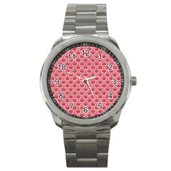 Scales2 White Marble & Red Colored Pencil Sport Metal Watch by trendistuff