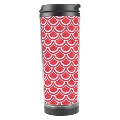 Scales2 White Marble & Red Colored Pencil Travel Tumbler by trendistuff