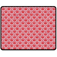 Scales2 White Marble & Red Colored Pencil Double Sided Fleece Blanket (medium)  by trendistuff