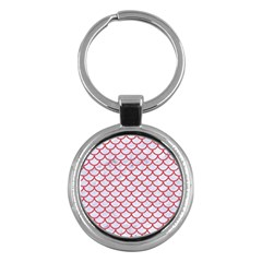 Scales1 White Marble & Red Colored Pencil (r) Key Chains (round)  by trendistuff
