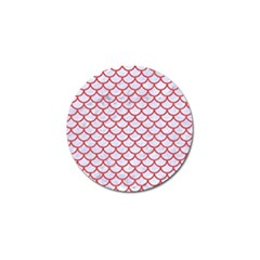 Scales1 White Marble & Red Colored Pencil (r) Golf Ball Marker by trendistuff