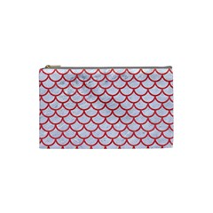 Scales1 White Marble & Red Colored Pencil (r) Cosmetic Bag (small)  by trendistuff