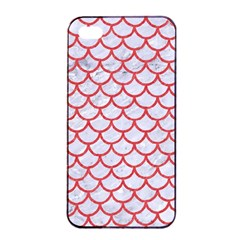 Scales1 White Marble & Red Colored Pencil (r) Apple Iphone 4/4s Seamless Case (black) by trendistuff