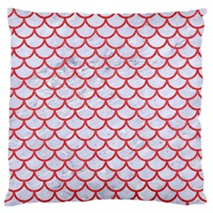 Scales1 White Marble & Red Colored Pencil (r) Large Flano Cushion Case (one Side) by trendistuff