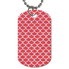 Scales1 White Marble & Red Colored Pencil Dog Tag (one Side) by trendistuff