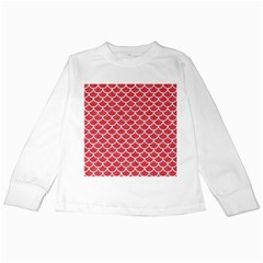 Scales1 White Marble & Red Colored Pencil Kids Long Sleeve T Shirts