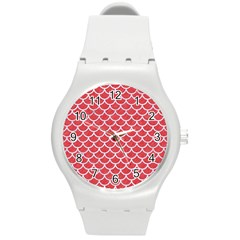 Scales1 White Marble & Red Colored Pencil Round Plastic Sport Watch (m) by trendistuff