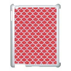 Scales1 White Marble & Red Colored Pencil Apple Ipad 3/4 Case (white) by trendistuff