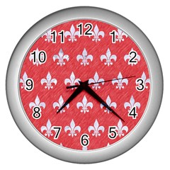Royal1 White Marble & Red Colored Pencil (r) Wall Clocks (silver)  by trendistuff