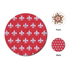 Royal1 White Marble & Red Colored Pencil (r) Playing Cards (round)  by trendistuff