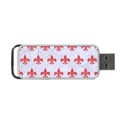 Royal1 White Marble & Red Colored Pencil Portable Usb Flash (one Side) by trendistuff