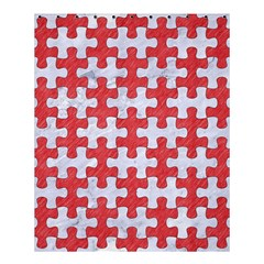 Puzzle1 White Marble & Red Colored Pencil Shower Curtain 60  X 72  (medium)  by trendistuff