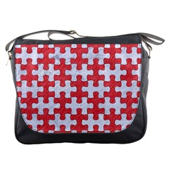 Puzzle1 White Marble & Red Colored Pencil Messenger Bags