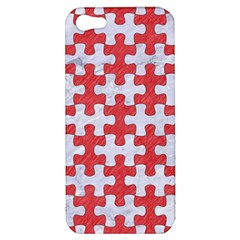 Puzzle1 White Marble & Red Colored Pencil Apple Iphone 5 Hardshell Case by trendistuff