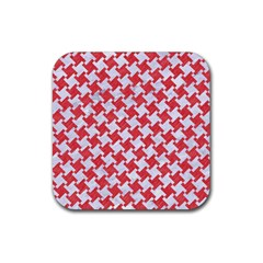 Houndstooth2 White Marble & Red Colored Pencil Rubber Square Coaster (4 Pack)  by trendistuff