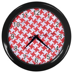 Houndstooth2 White Marble & Red Colored Pencil Wall Clocks (black) by trendistuff