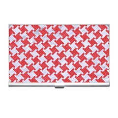 Houndstooth2 White Marble & Red Colored Pencil Business Card Holders by trendistuff