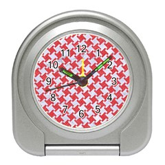 Houndstooth2 White Marble & Red Colored Pencil Travel Alarm Clocks by trendistuff