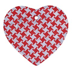 Houndstooth2 White Marble & Red Colored Pencil Heart Ornament (two Sides)