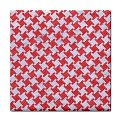 Houndstooth2 White Marble & Red Colored Pencil Face Towel by trendistuff