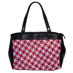 Houndstooth2 White Marble & Red Colored Pencil Office Handbags by trendistuff