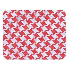 Houndstooth2 White Marble & Red Colored Pencil Double Sided Flano Blanket (large)  by trendistuff