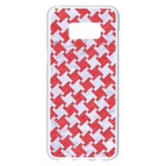 Houndstooth2 White Marble & Red Colored Pencil Samsung Galaxy S8 Plus White Seamless Case by trendistuff