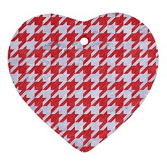 Houndstooth1 White Marble & Red Colored Pencil Heart Ornament (two Sides) by trendistuff