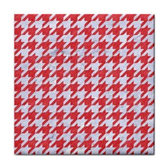 Houndstooth1 White Marble & Red Colored Pencil Face Towel by trendistuff
