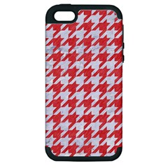 Houndstooth1 White Marble & Red Colored Pencil Apple Iphone 5 Hardshell Case (pc+silicone) by trendistuff