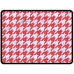 Houndstooth1 White Marble & Red Colored Pencil Double Sided Fleece Blanket (large)  by trendistuff