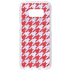 Houndstooth1 White Marble & Red Colored Pencil Samsung Galaxy S8 White Seamless Case