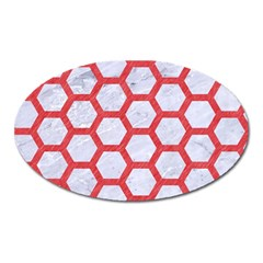 Hexagon2 White Marble & Red Colored Pencil (r) Oval Magnet by trendistuff