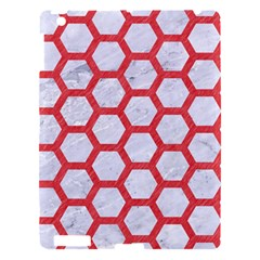 Hexagon2 White Marble & Red Colored Pencil (r) Apple Ipad 3/4 Hardshell Case by trendistuff