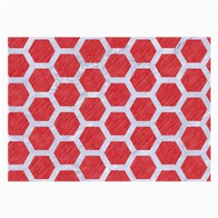 Hexagon2 White Marble & Red Colored Pencil Large Glasses Cloth by trendistuff