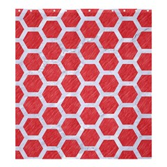 Hexagon2 White Marble & Red Colored Pencil Shower Curtain 66  X 72  (large)  by trendistuff