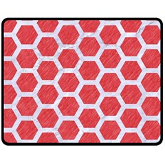 Hexagon2 White Marble & Red Colored Pencil Fleece Blanket (medium)  by trendistuff