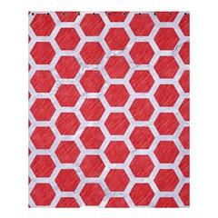 Hexagon2 White Marble & Red Colored Pencil Shower Curtain 60  X 72  (medium)  by trendistuff
