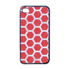 Hexagon2 White Marble & Red Colored Pencil Apple Iphone 4 Case (black) by trendistuff