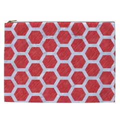 Hexagon2 White Marble & Red Colored Pencil Cosmetic Bag (xxl)  by trendistuff