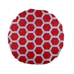 Hexagon2 White Marble & Red Colored Pencil Standard 15  Premium Round Cushions by trendistuff