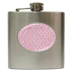 Hexagon1 White Marble & Red Colored Pencil (r) Hip Flask (6 Oz) by trendistuff
