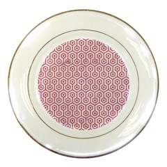Hexagon1 White Marble & Red Colored Pencil (r) Porcelain Plates by trendistuff
