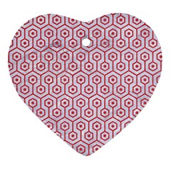 Hexagon1 White Marble & Red Colored Pencil (r) Heart Ornament (two Sides) by trendistuff