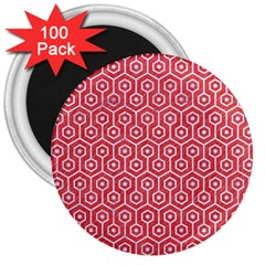 Hexagon1 White Marble & Red Colored Pencil 3  Magnets (100 Pack) by trendistuff