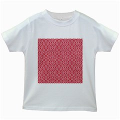 Hexagon1 White Marble & Red Colored Pencil Kids White T Shirts